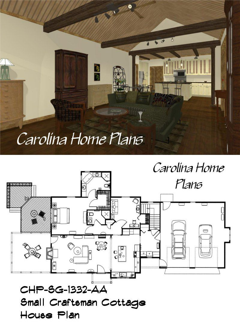 Small Efficient Floor Plan With 3d Views Open Floor House Plans House Plans Cottage House Plans