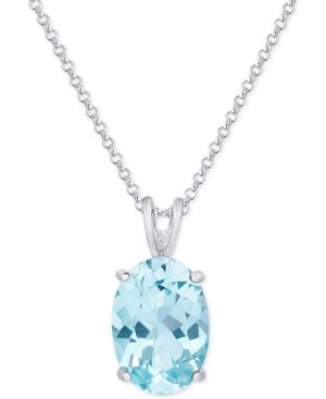Blue Topaz Pendant Necklace (7-3/8 ct. t.w.) in Sterling Silver - Silver