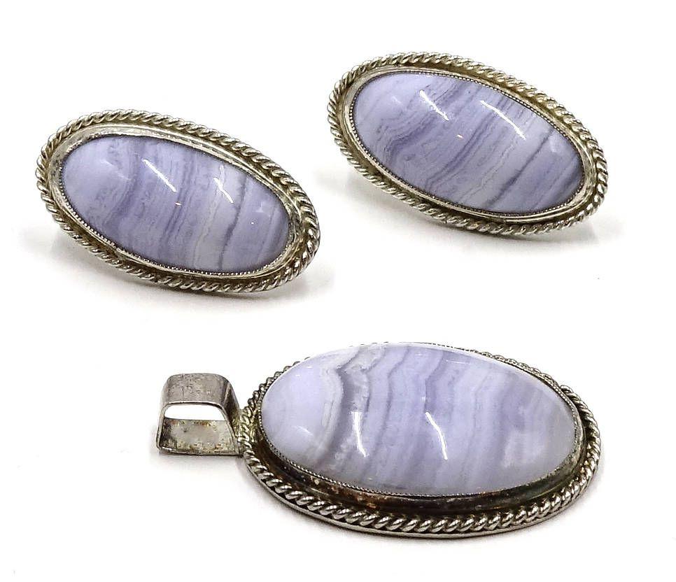 Vintage Silver Agate Earrings