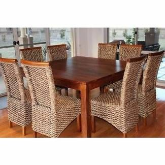 Mirage Hardwood Square 9 Piece Dining Package Tahiti Chairs