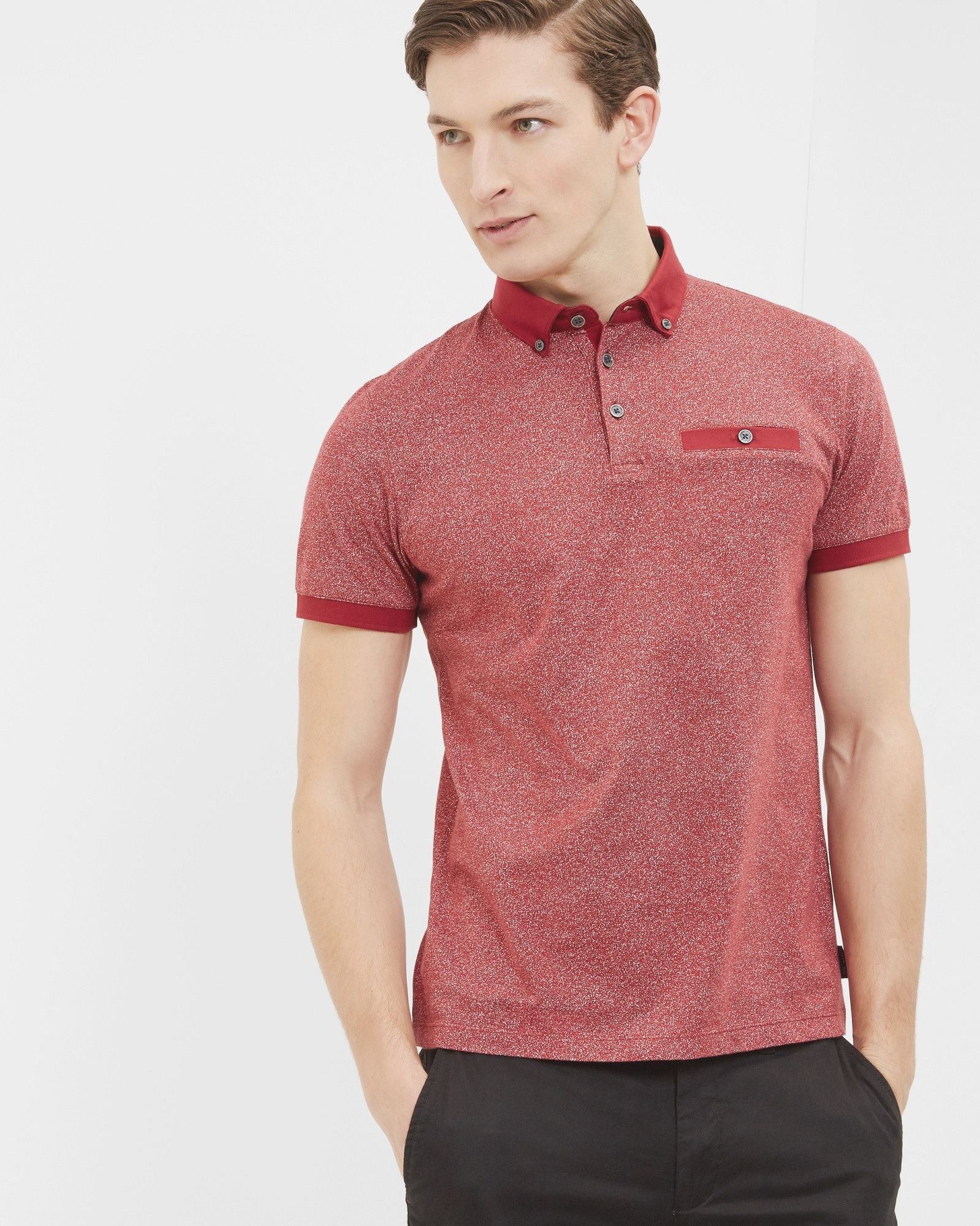 6ebdc856efa2f5 Printed cotton polo shirt - Red