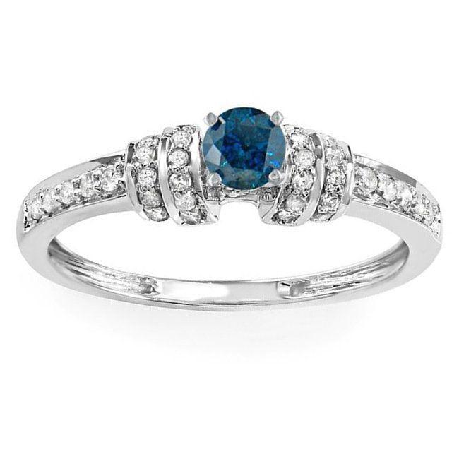 elora 14k gold 25ct tdw roundcut blue and white diamond engagement ring