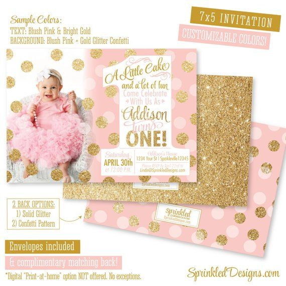 Pink And Gold First Birthday Invitation 1st Photo Card A Little Cake Lot Of