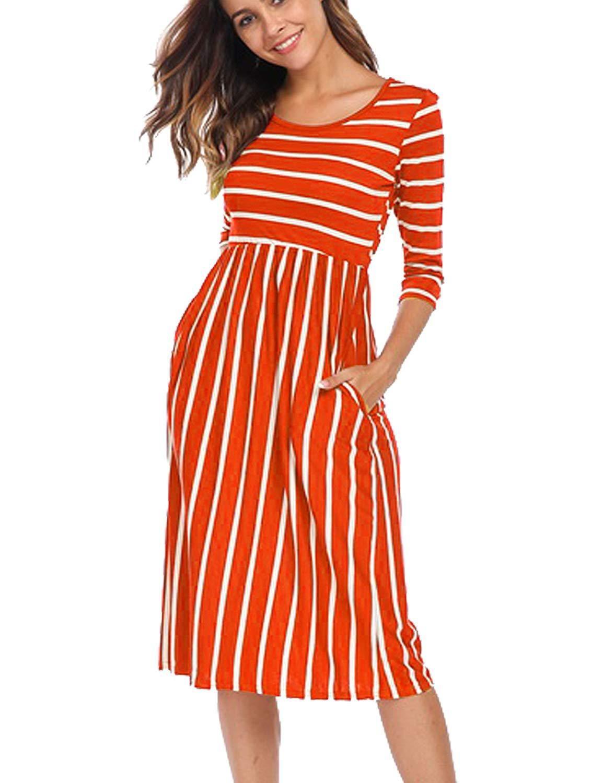 Halife Womens 3 4 Sleeve Stripe Elastic Waist Casual Dress With Pocket At Amazon Womens Clothing Store Amazon Affilia Casual Dress Dresses Retro Swing Dresses [ 1500 x 1154 Pixel ]
