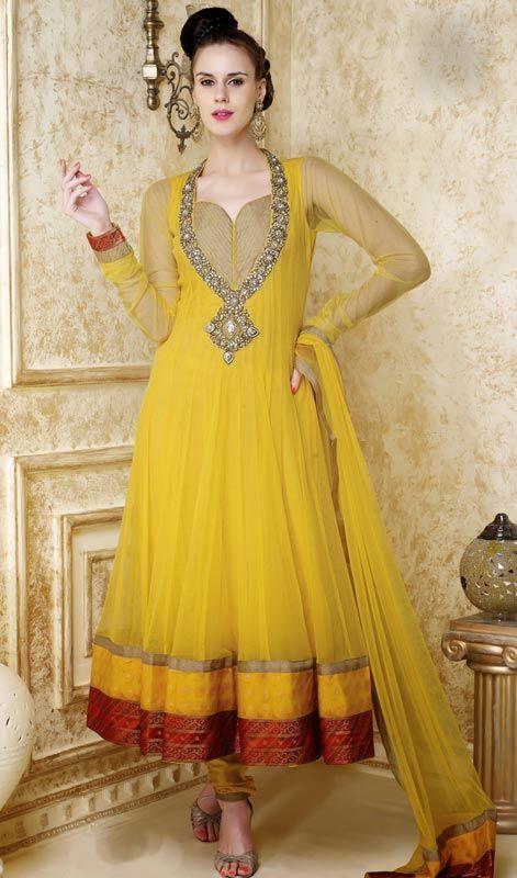 8b4eb1bd082b Unique Gold Color Net Anarkali Suit Price  Usa Dollar  219