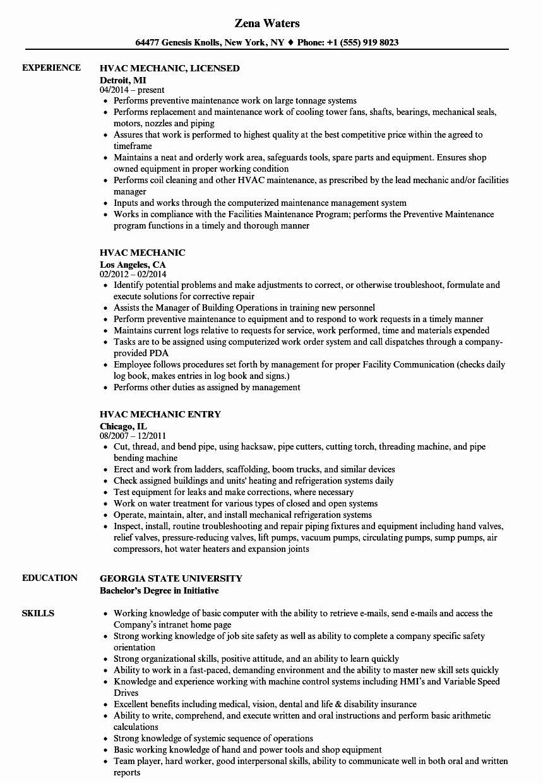 Hvac technician job description resume lovely hvac