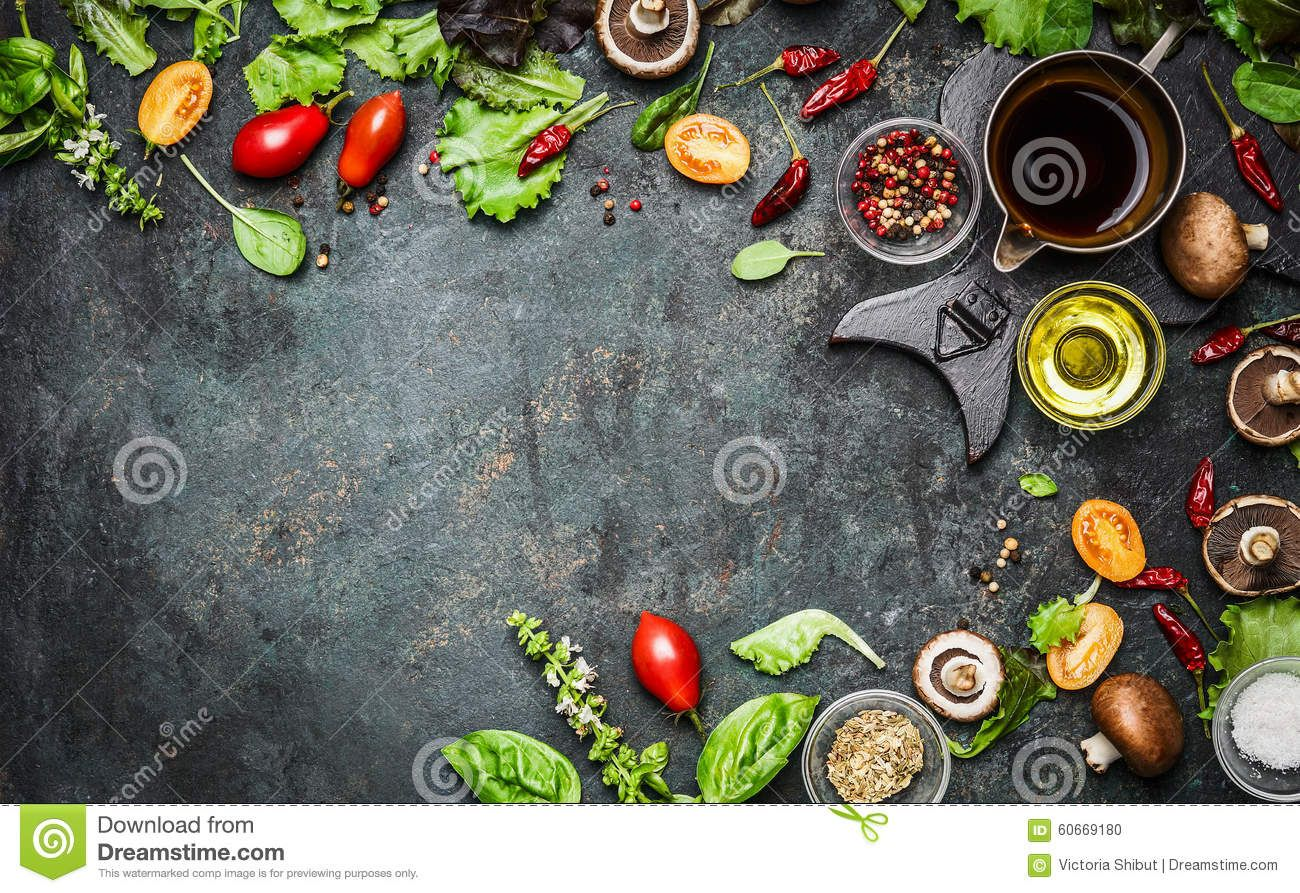 Fresh Delicious Ingredients For Healthy Cooking Or Salad Making On Rustic Background Top View Banner