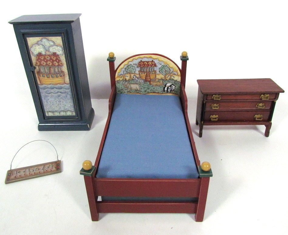 4 PC Vintage MINIATURE DOLLHOUSE FURNITURE Noahu0027s Ark Bedroom Set
