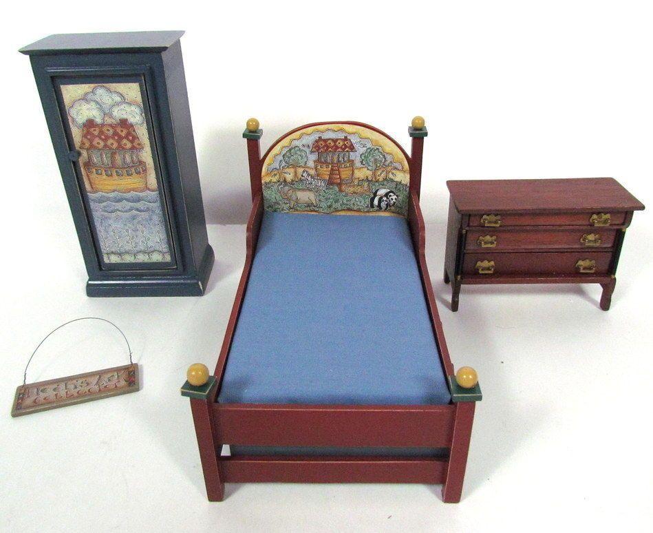4 Pc Vintage Miniature Dollhouse Furniture Noah 39 S Ark Bedroom Set Noah 39 S Ark Art Dollhouse