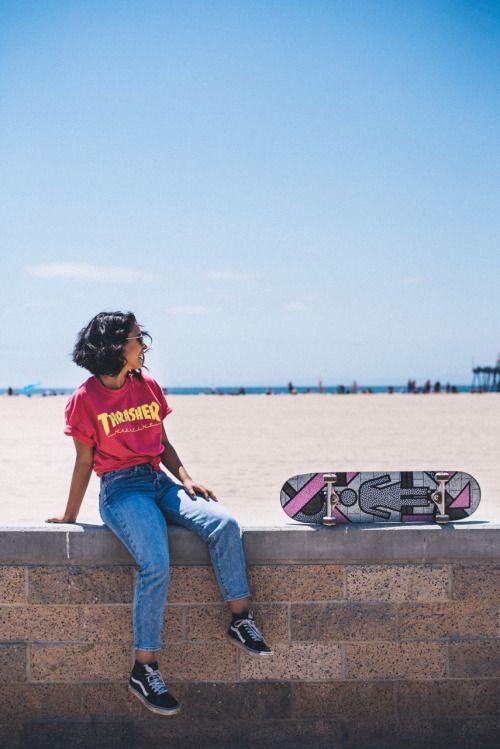 fc8444ed Thrasher Skateboard Tumblr, Skateboard Clothing, Skateboard Fashion, Skateboard  Girl, Skate Style Girl