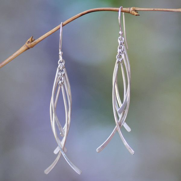 NOVICA Handmade Sterling Silver Dangle Earrings ($38) ❤ liked on Polyvore featuring jewelry, earrings, dangle, sterling silver, dangling jewelry, sterling silver dangle earrings, long earrings, novica and handcrafted jewelry