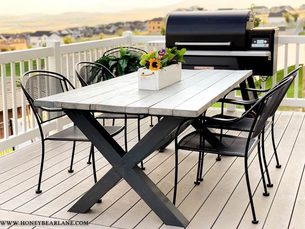 Outdoor Tables Build Your Own X Leg Outdoor Table Honeybear Lane Table Outdoortable Furniture Outdoorfurniture In 2020 Diy Patio Table Outdoor Tables Diy Patio