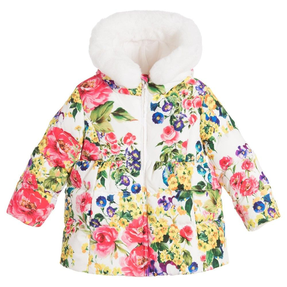 Dolce & Gabbana - Baby Girls Down Padded Floral Coat | Childrensalon