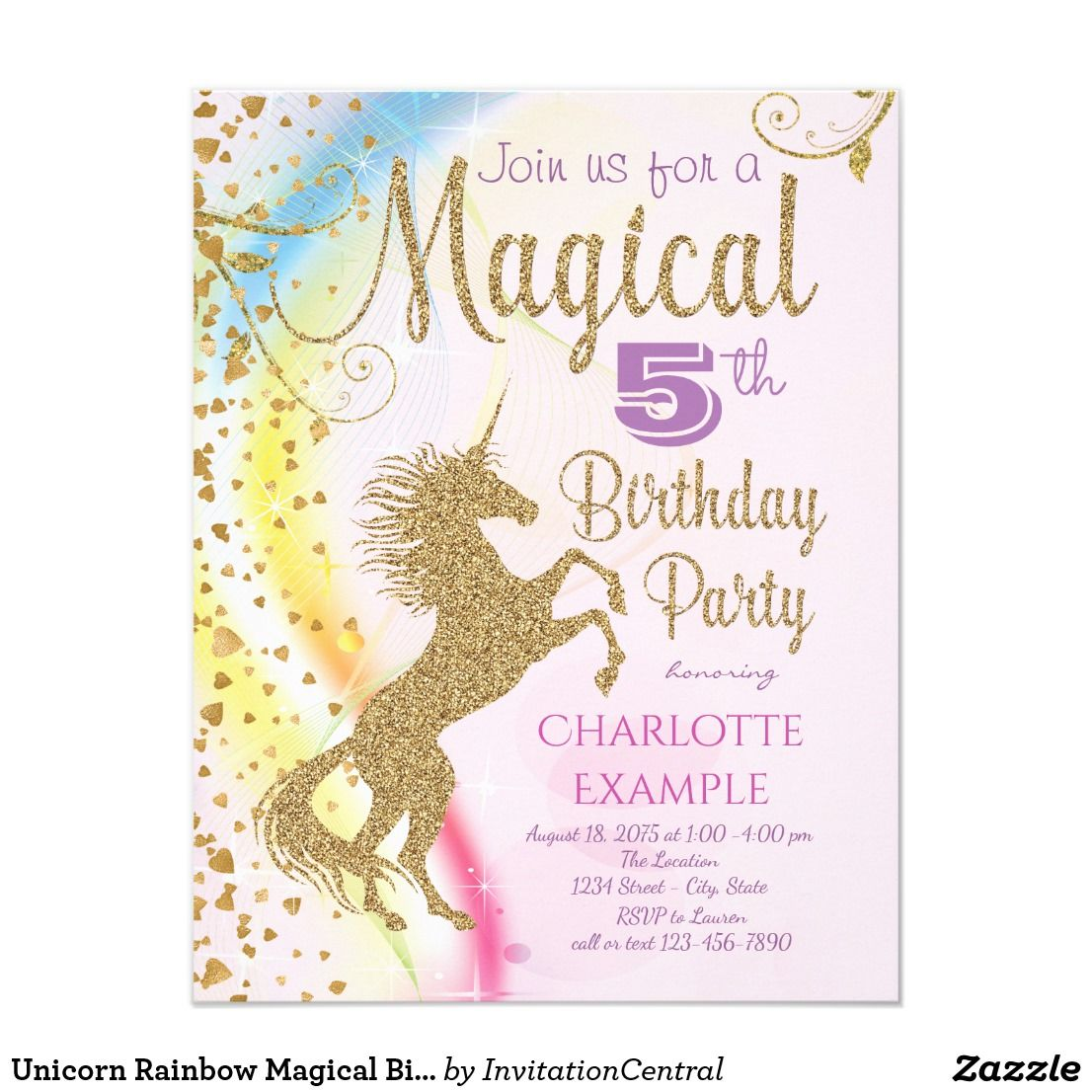 Unicorn Rainbow Magical Birthday Party Invitations | Party ...