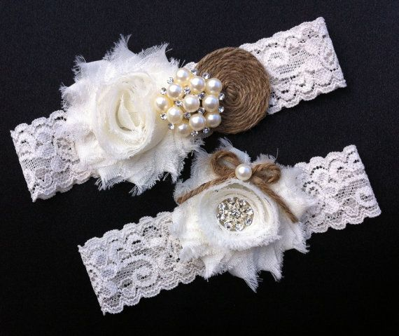 Wedding Garter / BURLAP Bridal Garter Set / Ivory Lace Garter Set / Vintage Garter Set on Etsy, $18.50