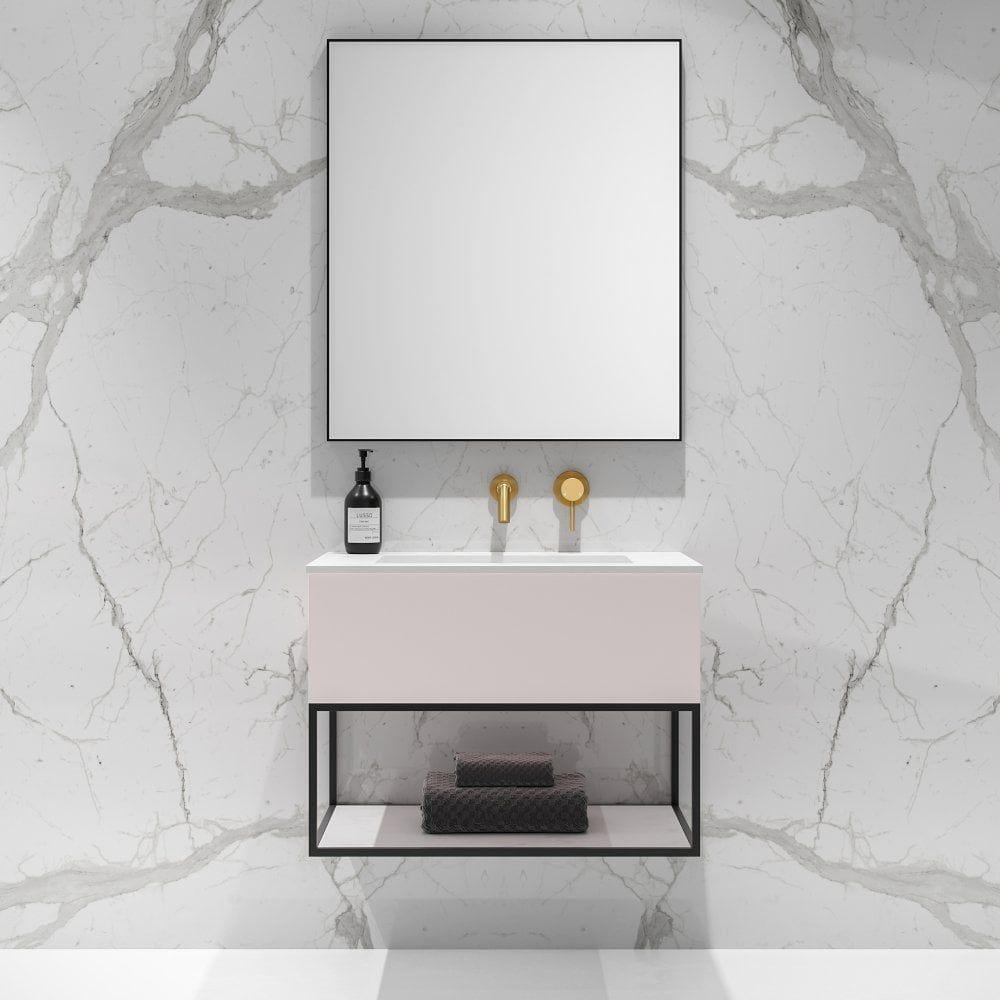 Modus Matte Powder Pink And Black Steel Framed Bathroom Vanity Unit 750 Bathroom Vanity Units Vanity Units Pink Cabinets