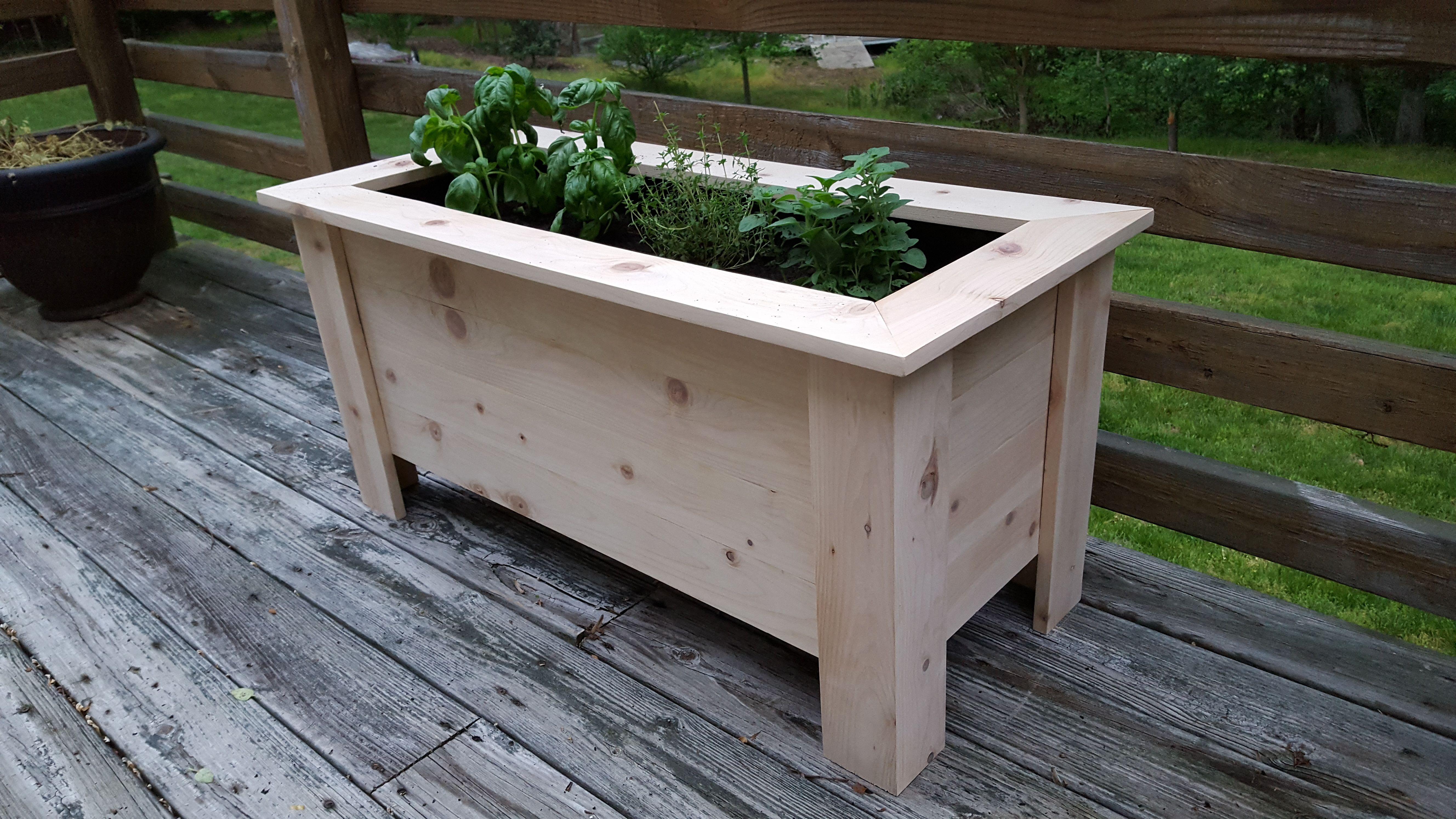Cedar deck planter box wood pots deck planter boxes
