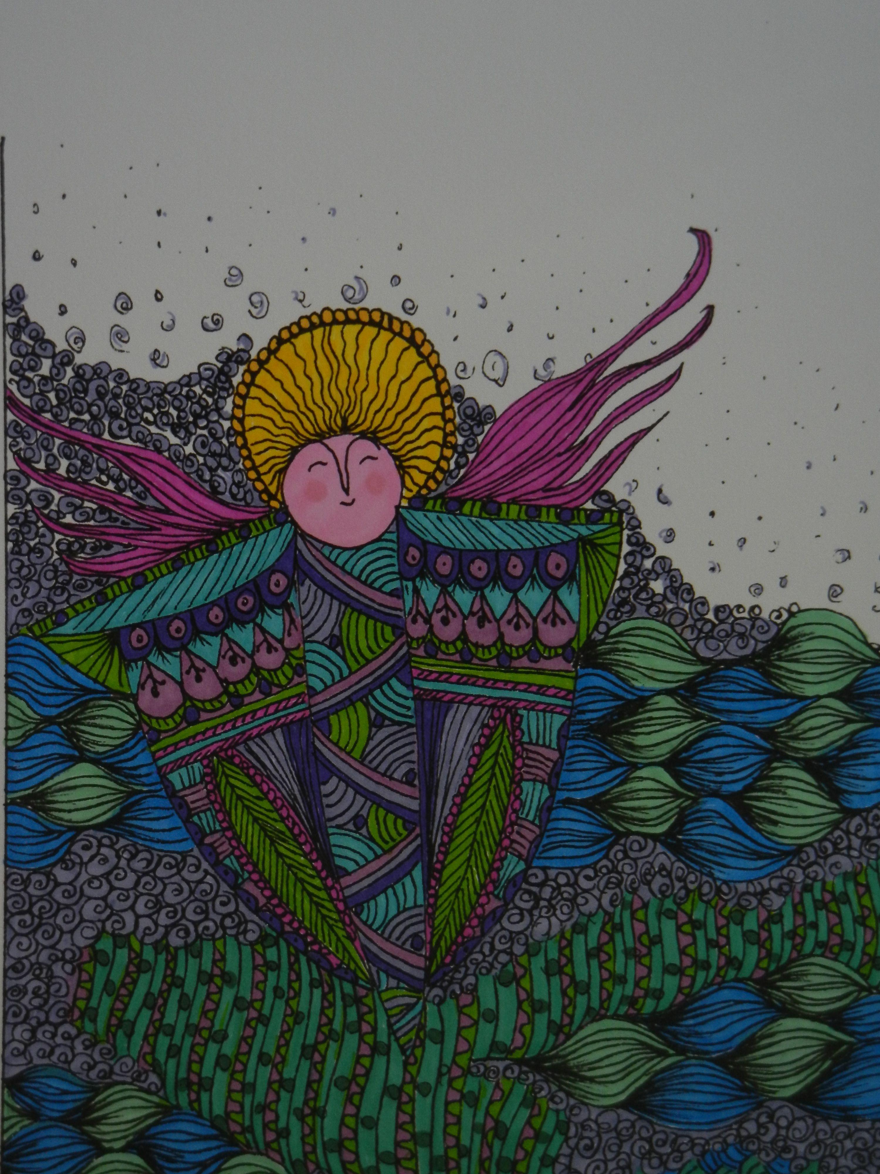 angel zentangle handtinted | zentangle/mosaic | Pinterest | Angel ...
