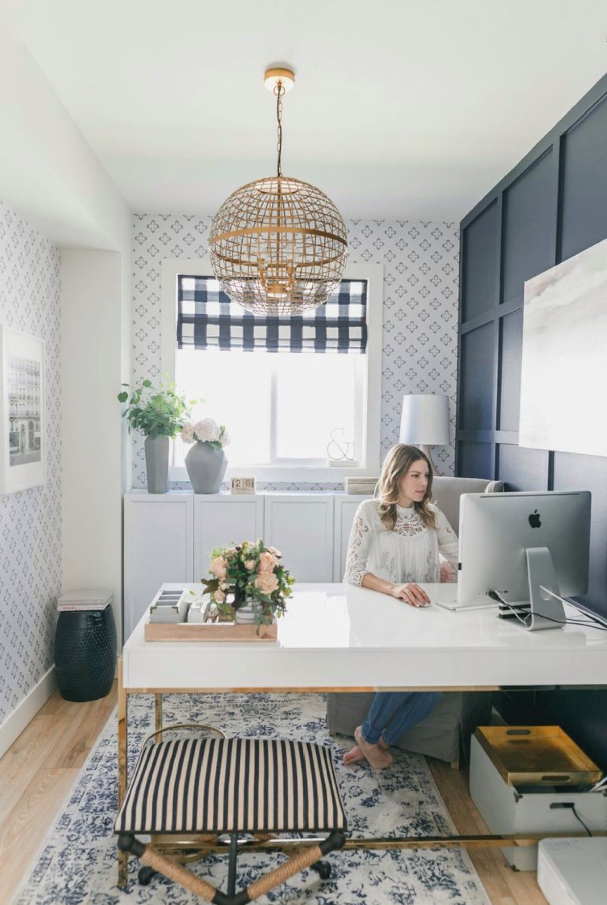 Need a desk right now? Choose from any of the 37 home office desks that will work for your child or you so you can work from home! Great for small workspaces or large offices, white and brass, or classic wood desks.
