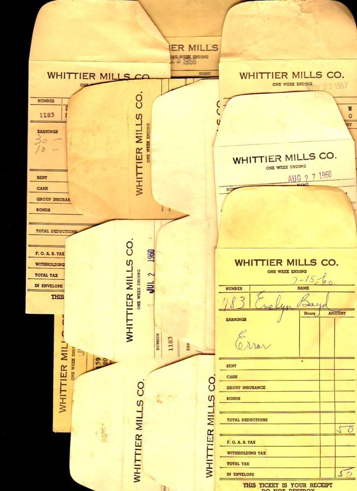 lot of 12 1956-60 Whittier Mills Co Rent Receipt Pay Stub - house rent slips