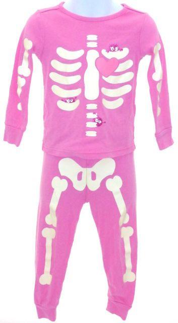 girls gymboree pink skeleton glow in the dark halloween pajamas 3 ebay