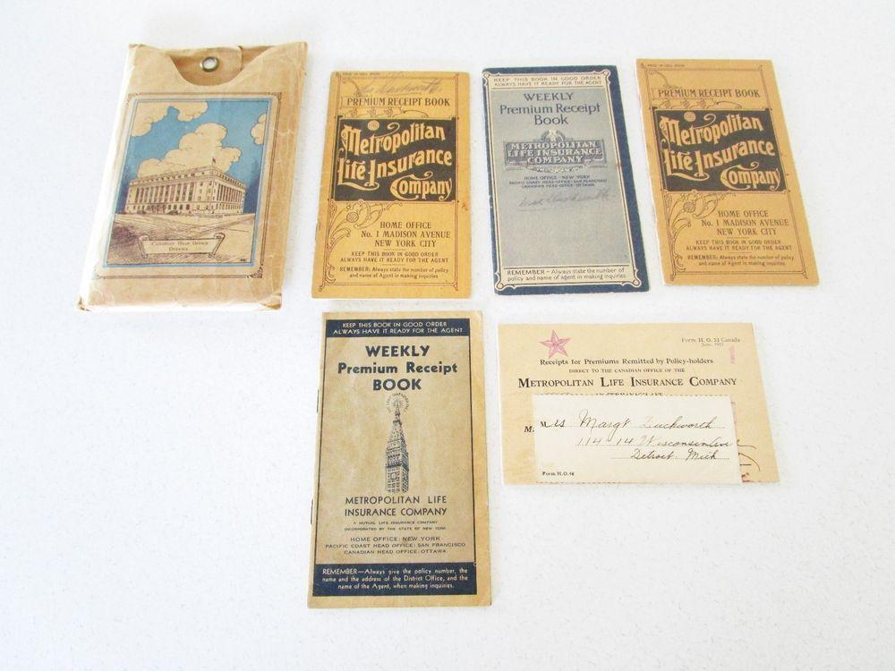 Metropolitan Life Insurance Premium Receipt Book 1927 Detroit Lot