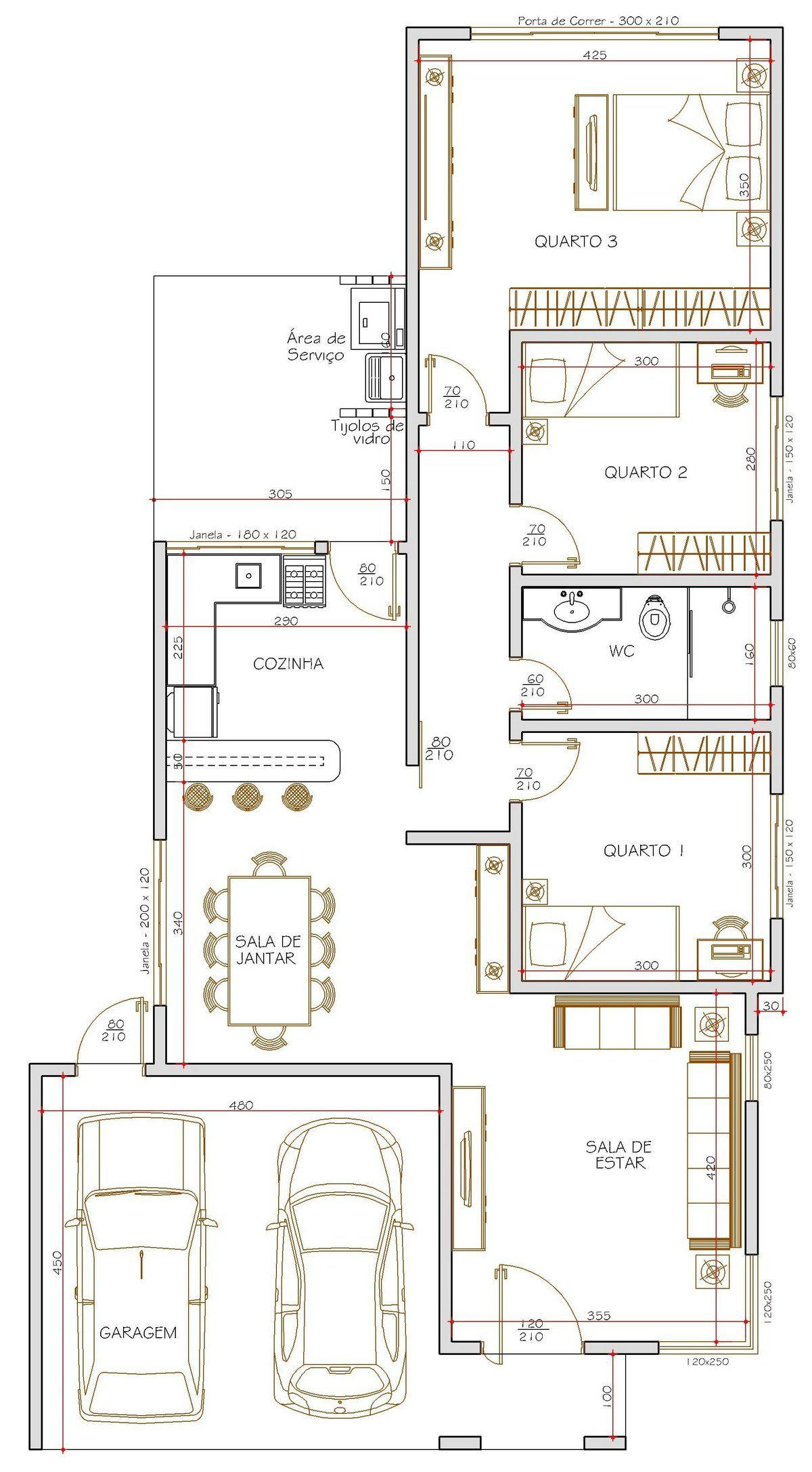 Projeto de casa t rrea de 3 quartos com casa for Casa moderna restaurante salta