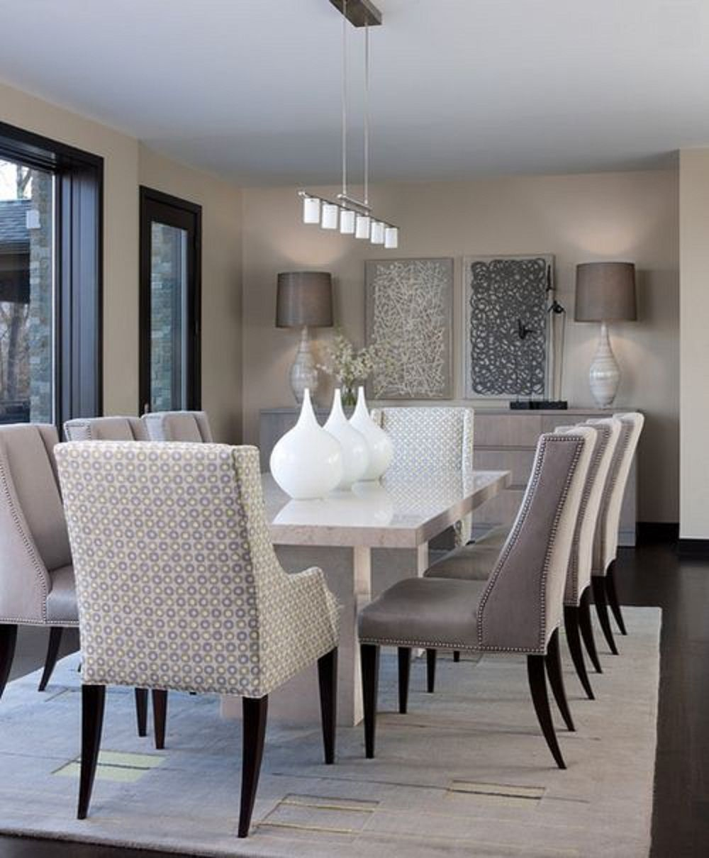 Cheap Dining Room Decorating Ideas Part - 33: Contemporary Dining Room Design Ideas With White Marble Dining Table And  Modern Decorative Wall Arts