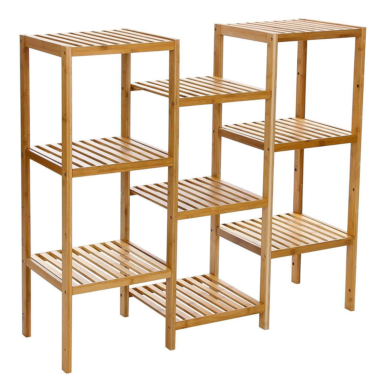 AmazonSmile: Songmics Bamboo Customizable Utility Shelf Bathroom Rack Plant  Display Stand 9 Tier Storage
