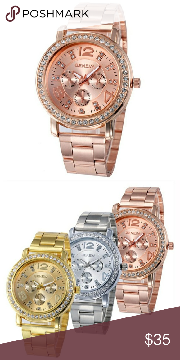 ROSEGOLD BOYFRIEND QUARTZ WATCH GORGEOUS ROSEGOLD BOYFRIEND QUARTZ WATCH Stainless Steel Sport Quartz Hour Wrist Analog Watch  Feature:  100% brand new and high quality.  Quantity: 1  Gender:Women  Style: Casual  Movement: Quartz  Display: Analog  Band Material:alloy  Case Material: Alloy  Dial Window Material Type: Glass  Dial Material Type: Alloy  Clasp Type: Hook Buckle  Life Waterproof  Watch case Diameter:38mm  Band Length:180mm  Thickness: 9mm  Band Width:12mm GENEVA Accessories…