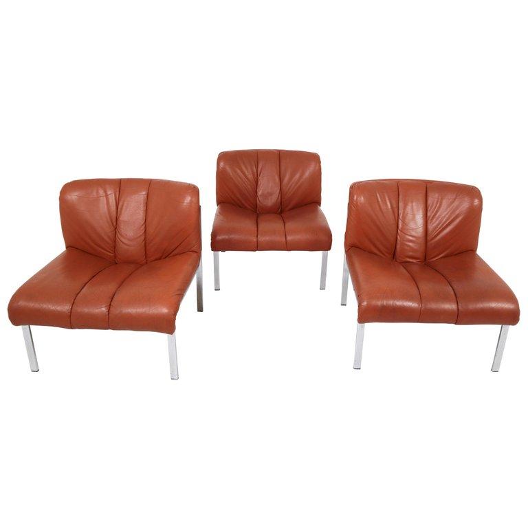 Best Set Of Three Girsberger Chairs Sofa Cognac Switzerland 400 x 300