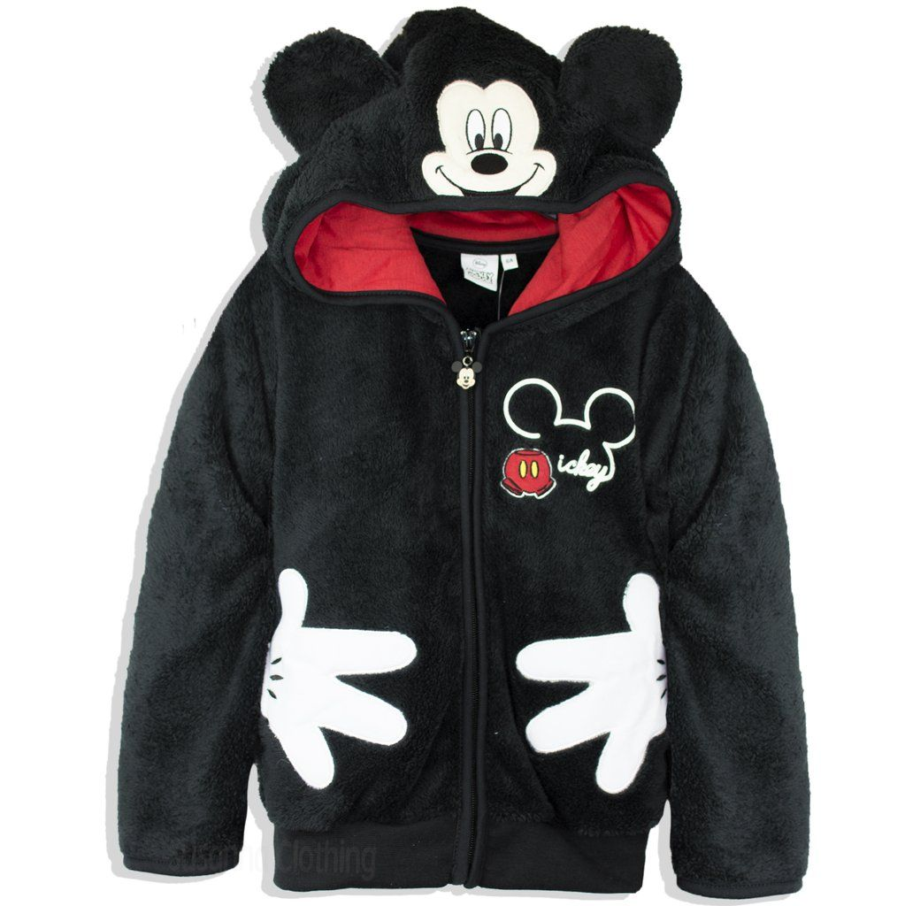 819cb0fca Disney Mickey Mouse Boys Girls Sherpa Fabric Cosy Hoodie Jacket Coat ...