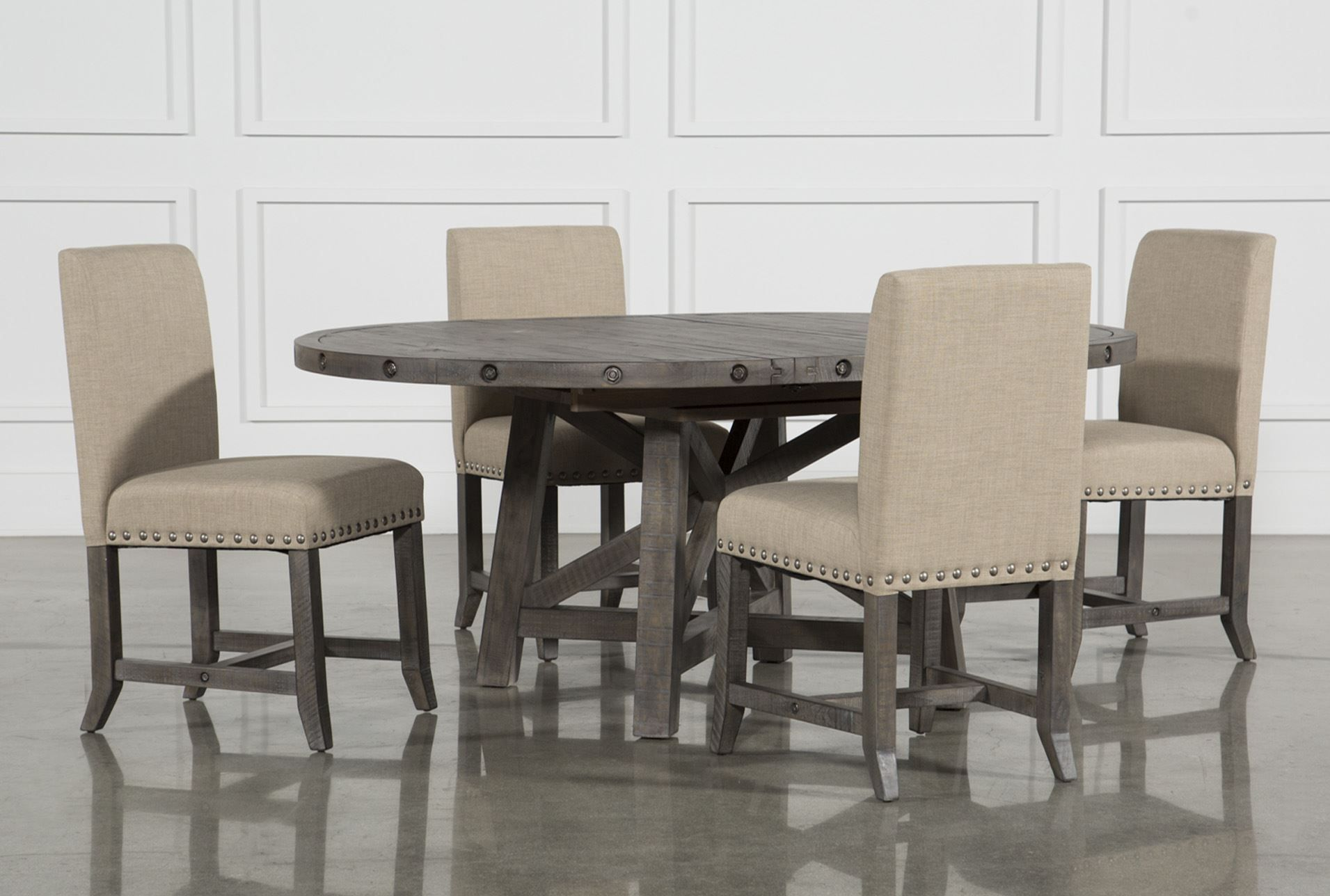 Jaxon Grey 5 Piece Round Extension Dining Set Wupholstered Chairs Pleasing Dining Room Upholstered Chairs Design Inspiration