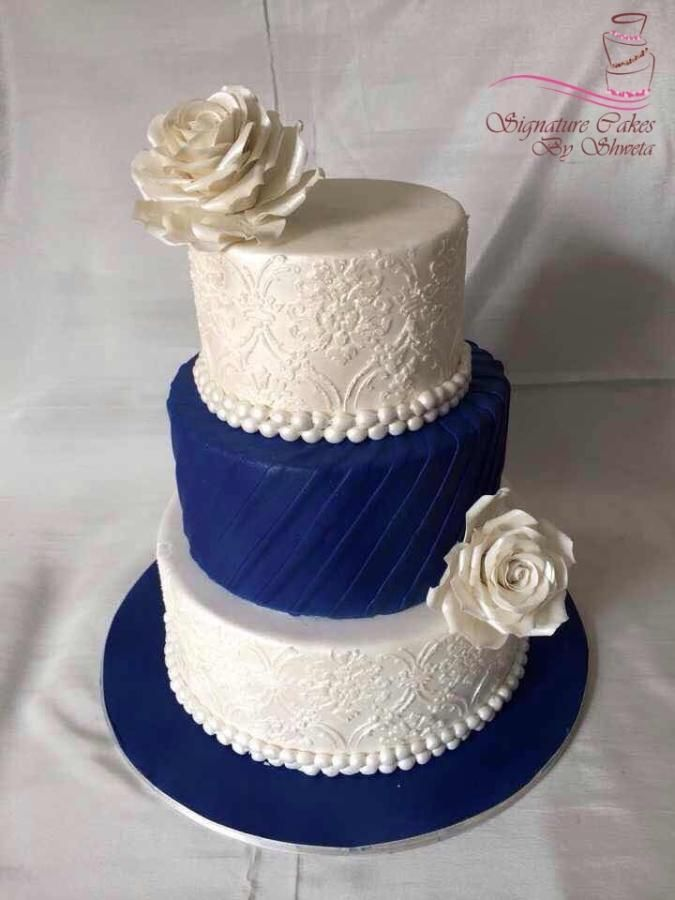 blue and gold wedding cake ideas royal blue cake by signature cakes by shweta 11945