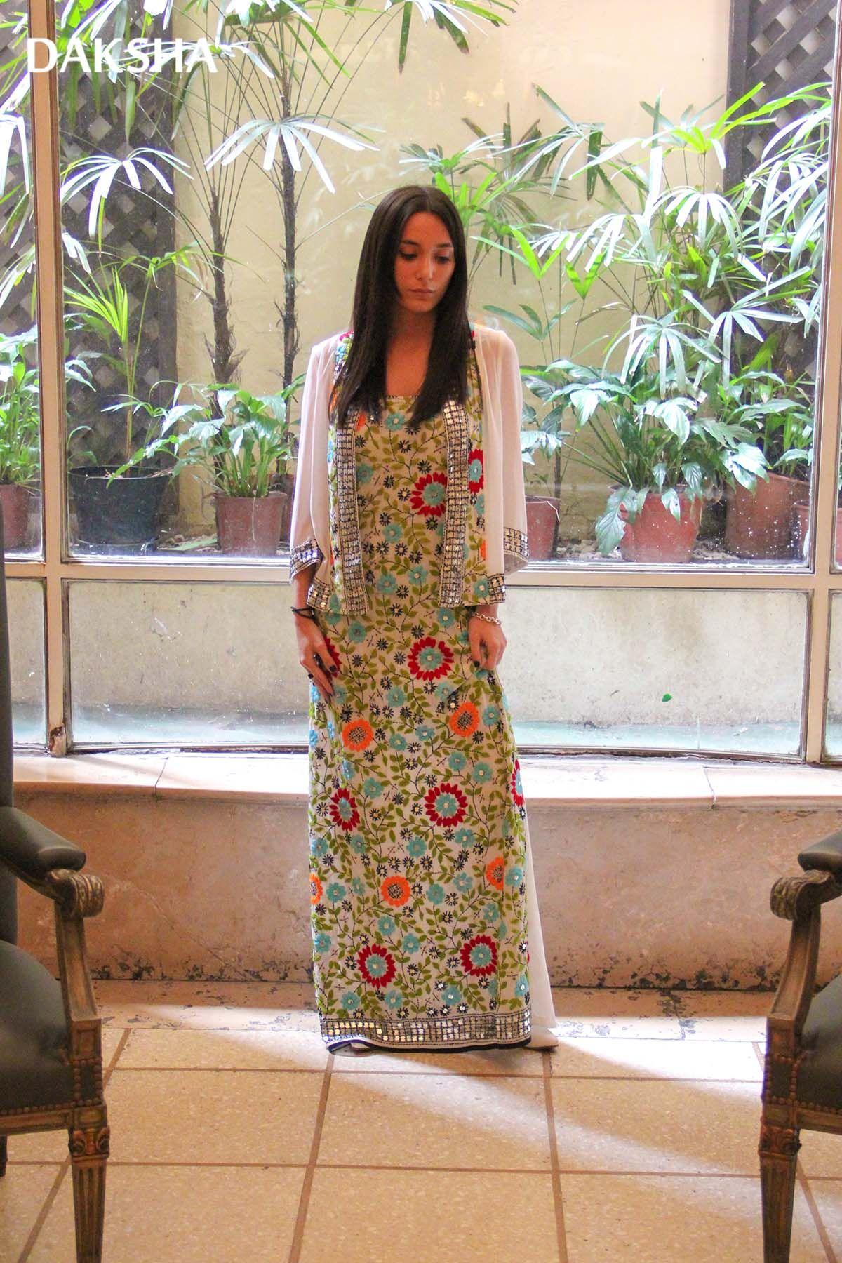 Conjunto MARIAGE, vestido largo y chaqueta en gasa bordada de India ...