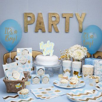 decoration fete anniversaire baby shower bleu et or blue and gold baby shower decoration baby. Black Bedroom Furniture Sets. Home Design Ideas