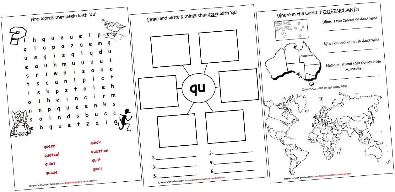 Printable Worksheets th phonics worksheets : Digraphs Lapbook and Worksheets ~ QU | Digraphs worksheets ...