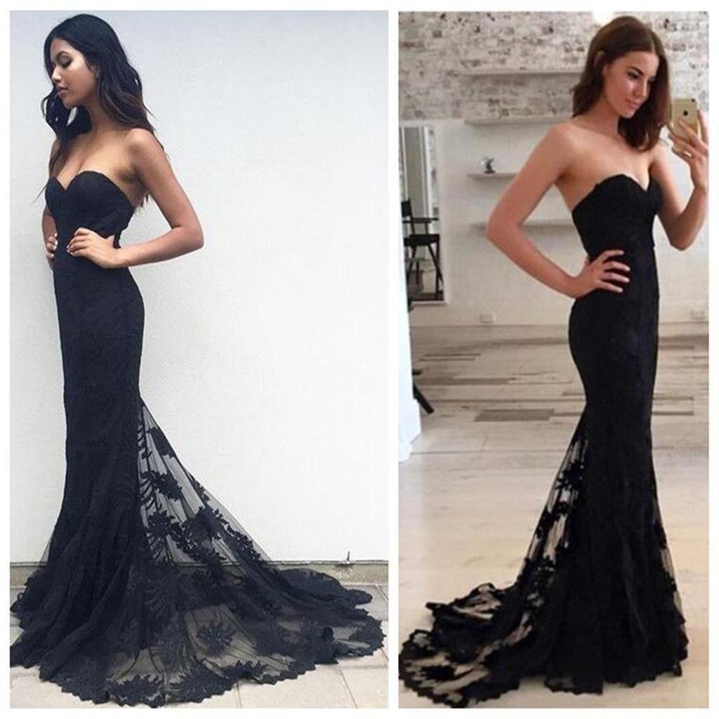 Black mermaid prom dresses lace prom dresses long prom dresses