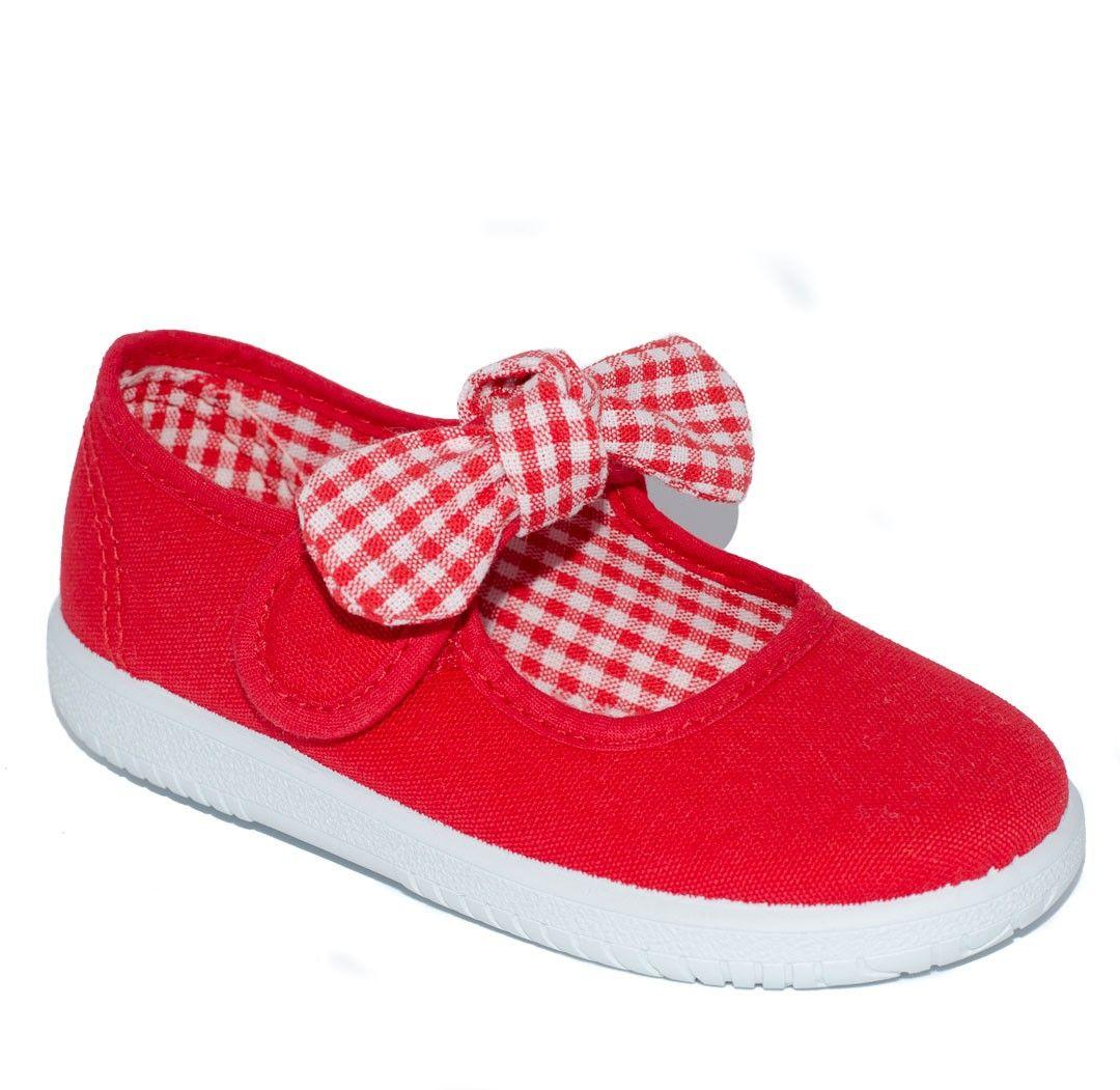 fba741dc4ca Merceditas de lona color rojo para niña de Vul-Peques | Calzado ...