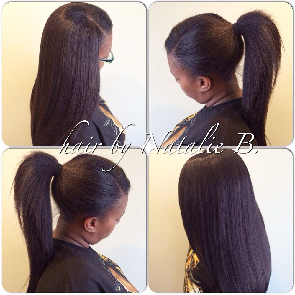 Natural Looking Sew In Weaves With Hair Left Out