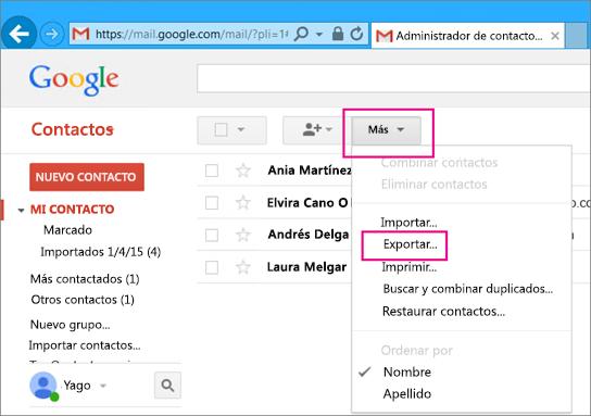 Para importar contactos desde Gmail a Office 365, en Gmail