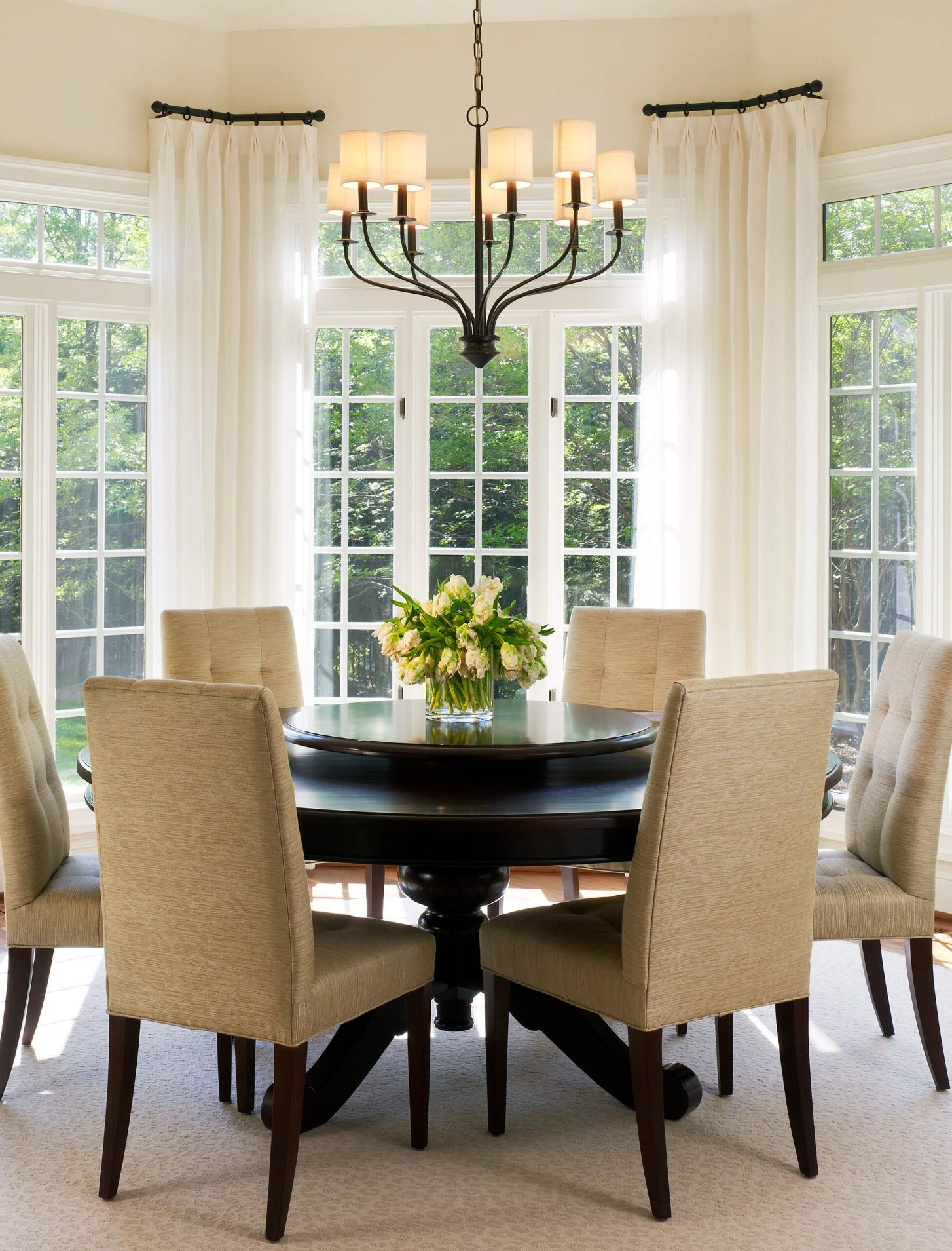 D Dining Room Drapes Table Chairs Area