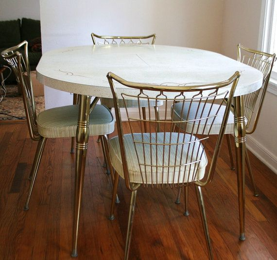 Kitchen Chairs For Cooking: Mid Century Brass Formica Dinette Set