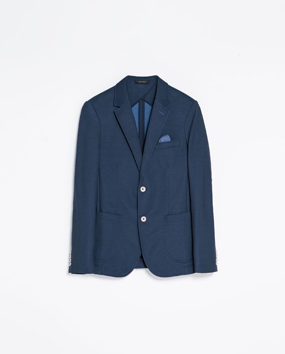 f52f94ca ZARA - MAN - PIQUÉ BLAZER WITH ELBOW PATCHES $99.00 | Things to shop ...