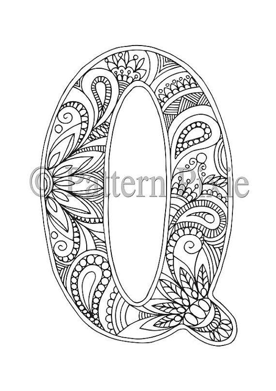 Adult Colouring Page Alphabet Letter J letras t Mandalas