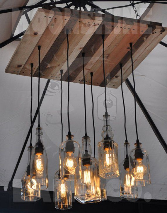 The Californian 9 Light Recycled Bottle Chandelier With