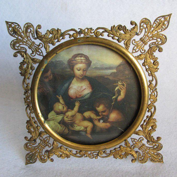 Delicate Antique Fleur de Lis Filigree Picture Frame