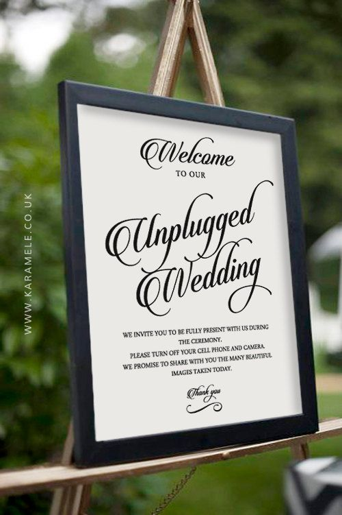 printable unplugged wedding sign wedding by karameleshop on etsy no cell phones no photos no cameras reception technology free wedding reception