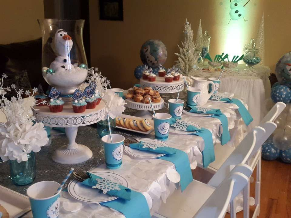 Olaf themed tea party for a Frozen birthday party! See
