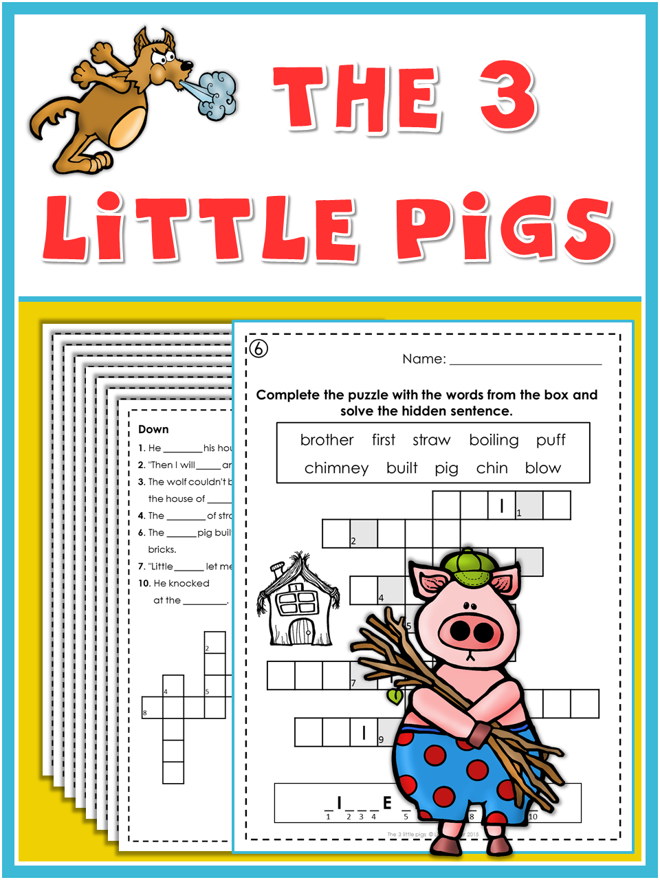 The 3 Little Pigs Puzzle Fun Little Pigs Vocabulary Practice Childrens Stories [ 1280 x 960 Pixel ]